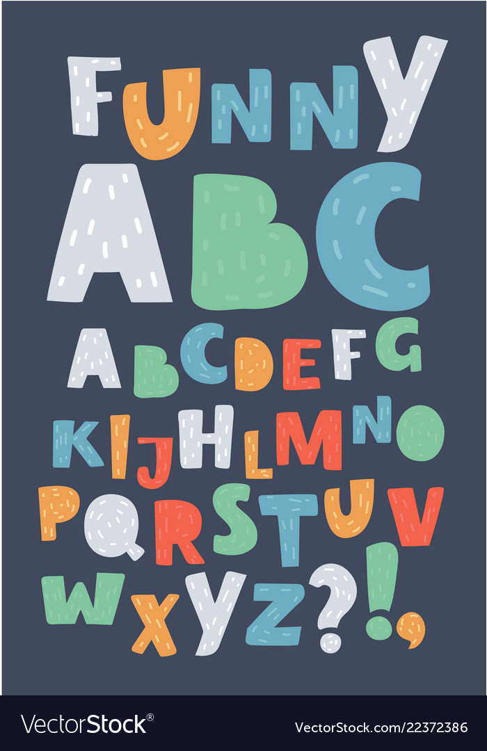 English alphabet colorful letters
