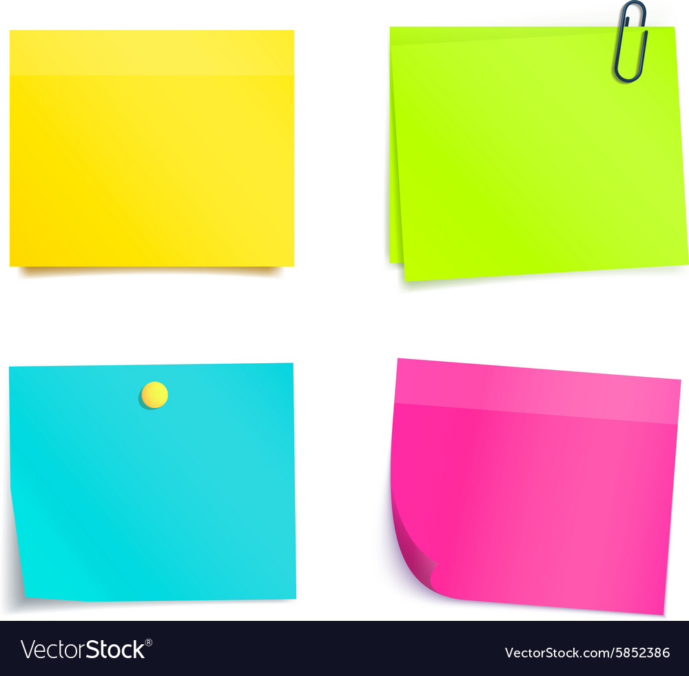 Four Colorful Sticky Notes Blank Sheets