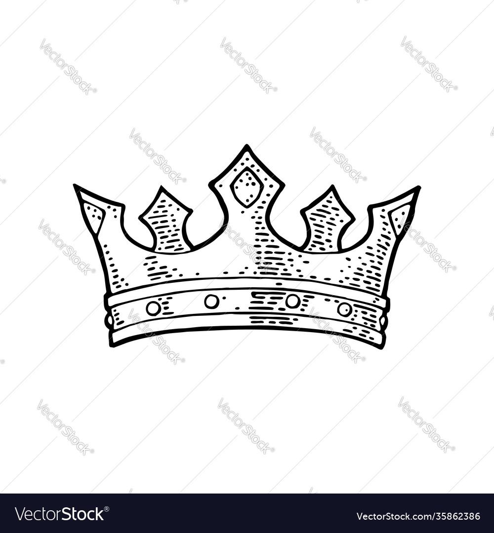 King crown engraving vintage black