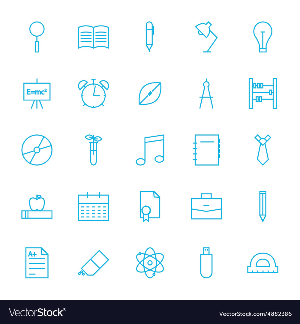 Line School and Science Icons Set vector image