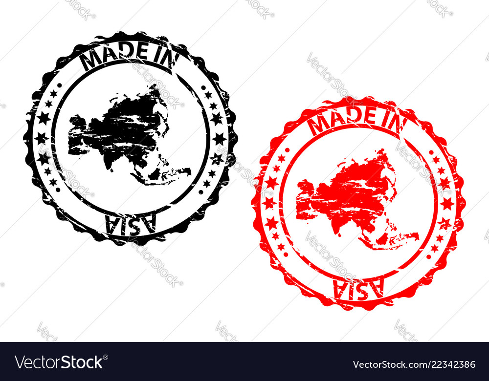 Made in asia rubber stamp vector image on VectorStock