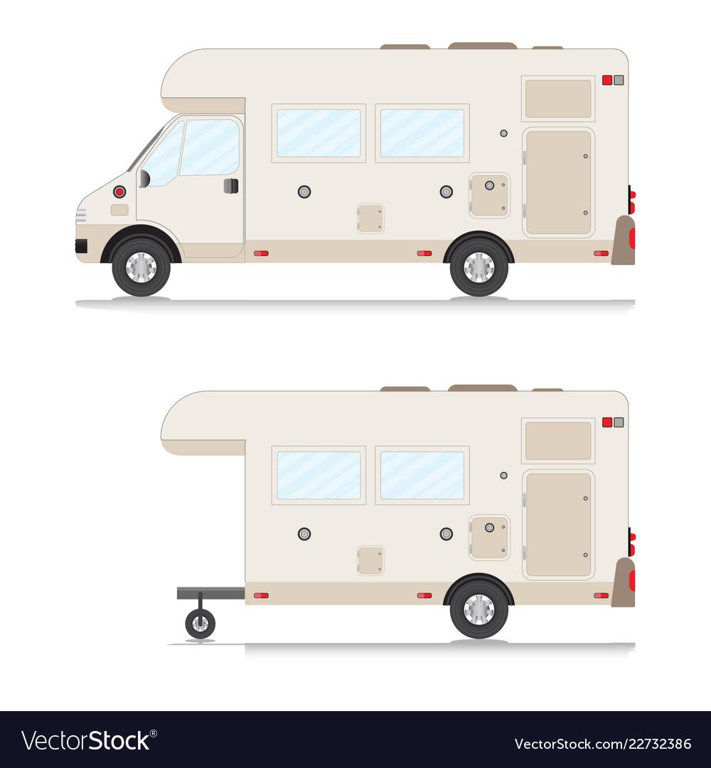 Set of retro camper trailer collection