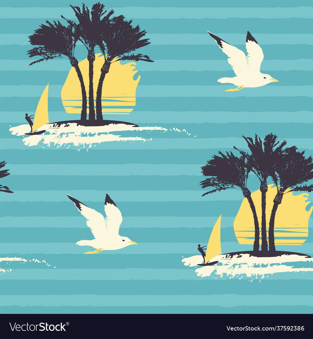 Summer seamless pattern with sun palms and surfers