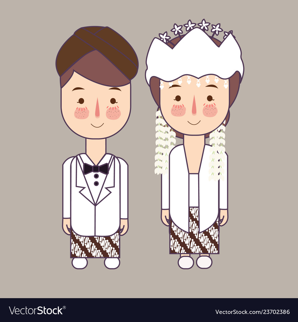 Sunda West Java Province Wedding Couple Cute Vector Image