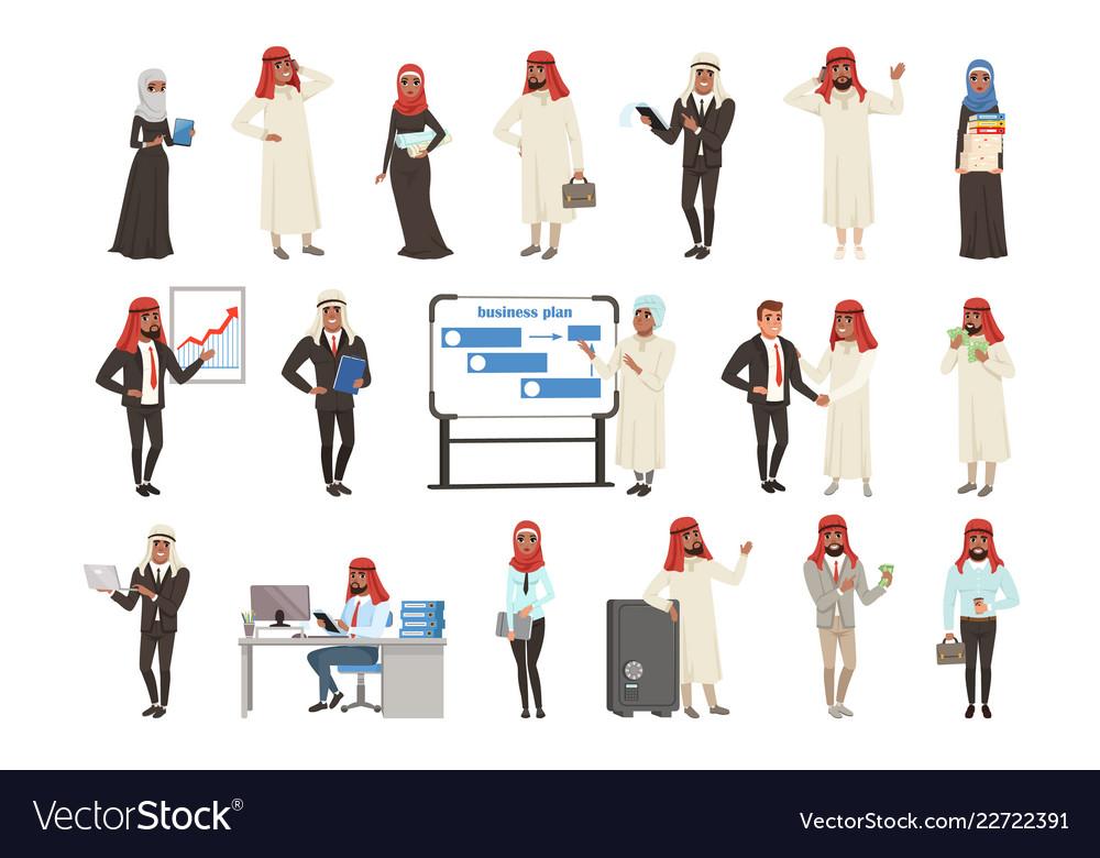 Arabian businessmen and bisinesswomen characters