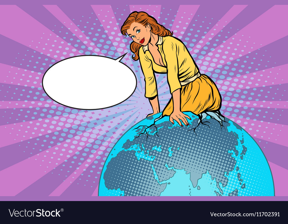 Beautiful woman emerge from the planet Earth vector image
