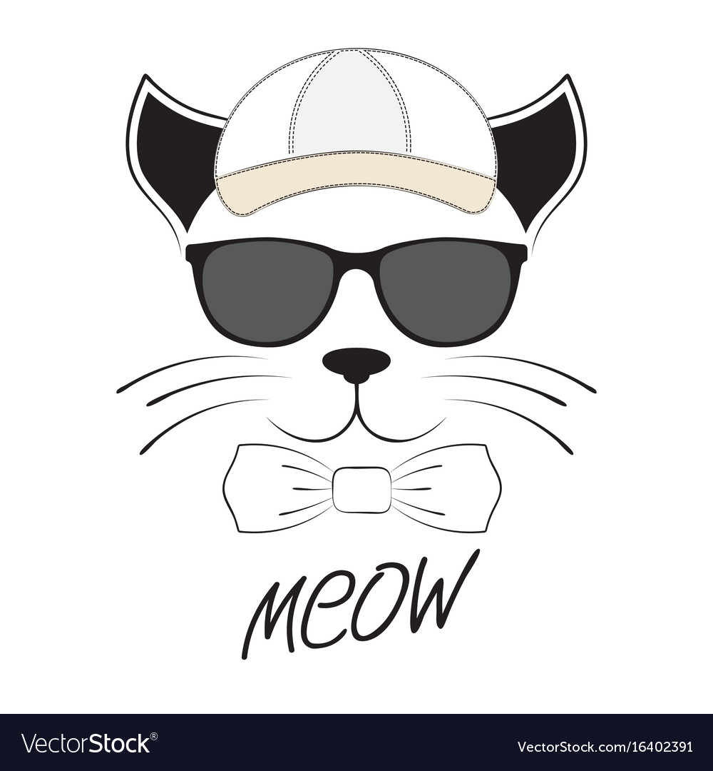 Cat head in goggles and cap on a white background