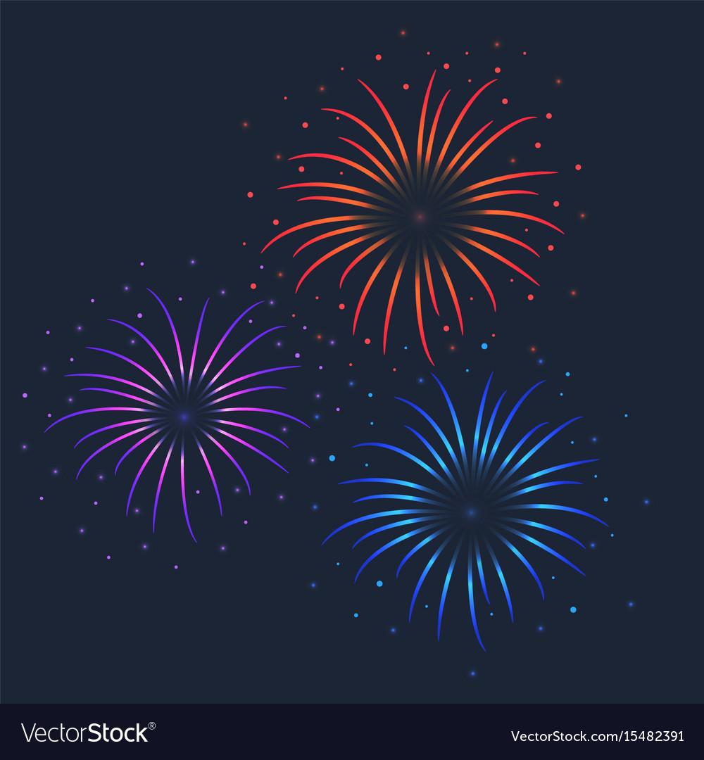 Colorful firework on dark