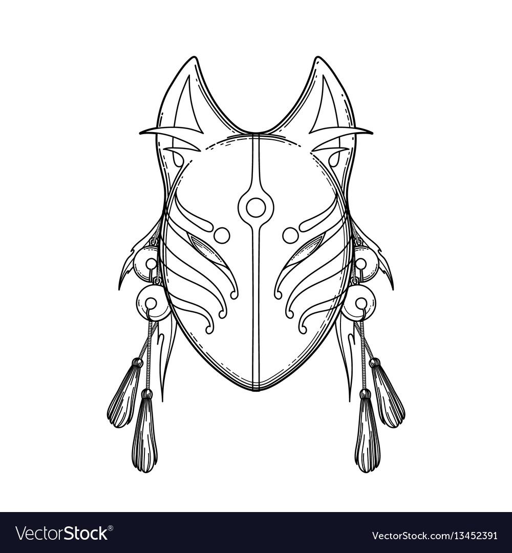Graphic demon fox mask vector image