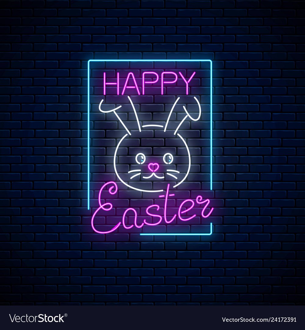 Happy easter glowing signboard with bunny and