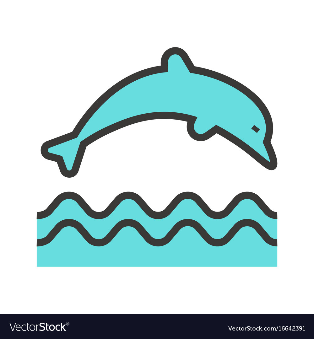 Jumping dolphin icon vector image