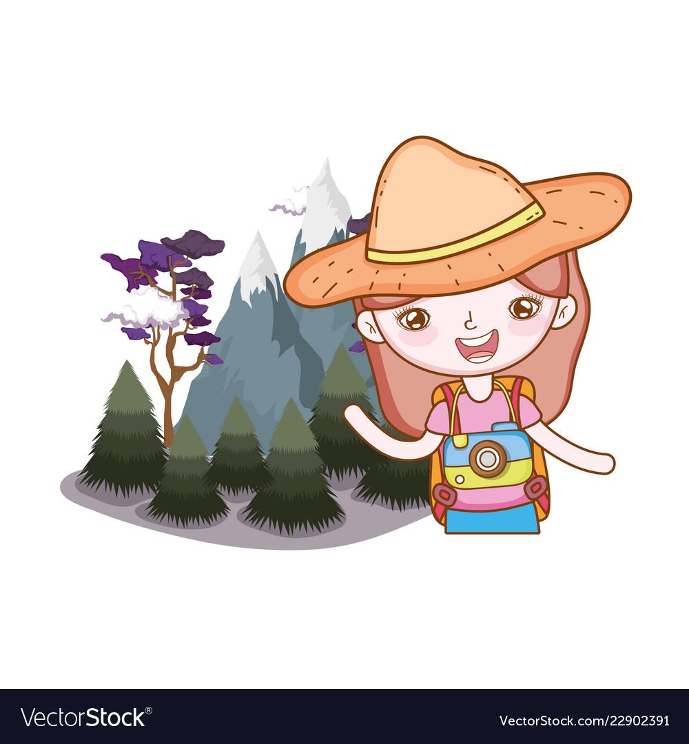 Little tourist girl in the landscape