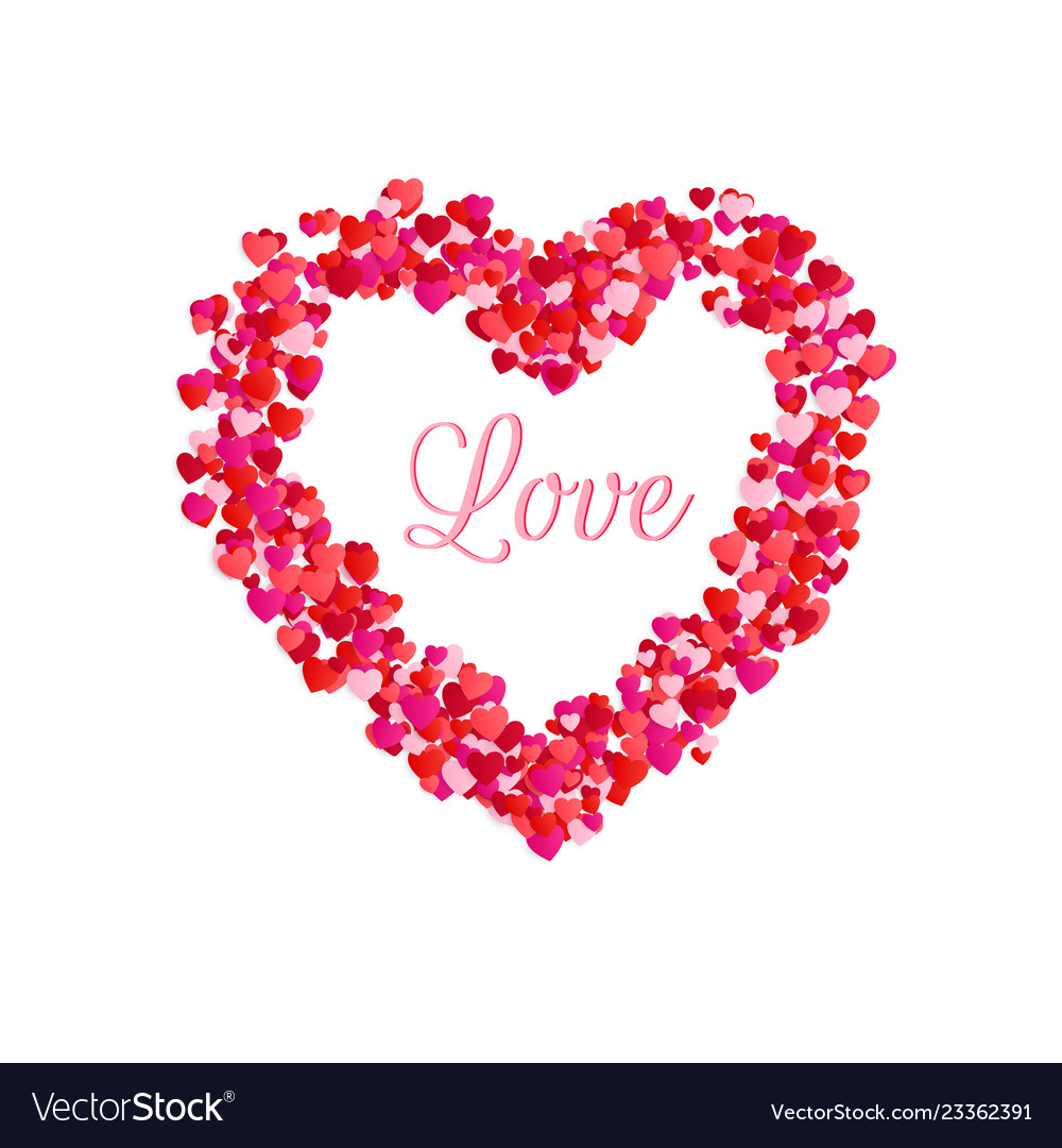 Love inside of heart frame romantic decoration