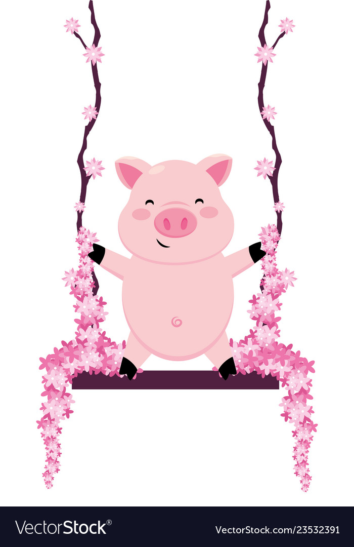 Pig in a swing
