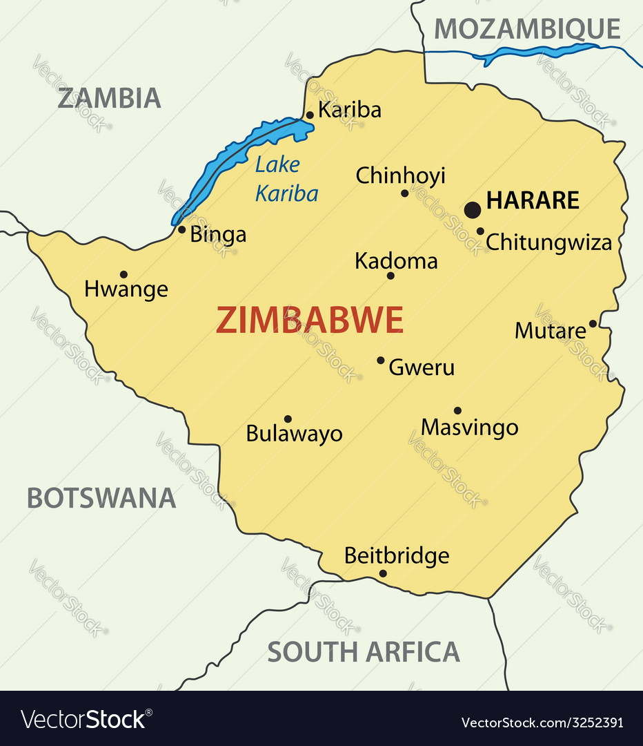 Republic of Zimbabwe - map Royalty Free Vector Image