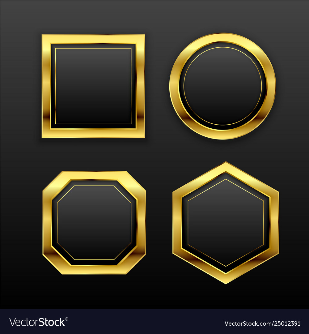 Set dark golden geometric empty badge labels