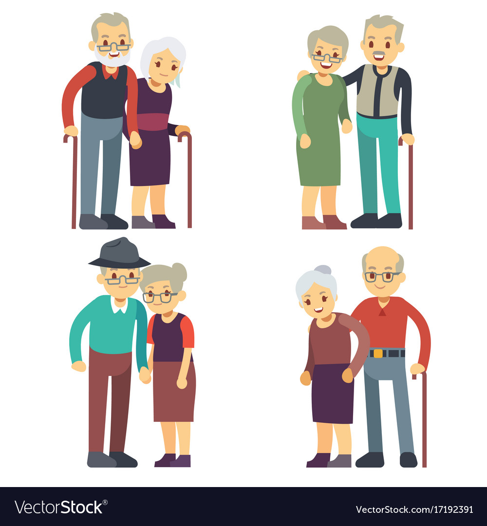 Smiling and happy old couples elderly families