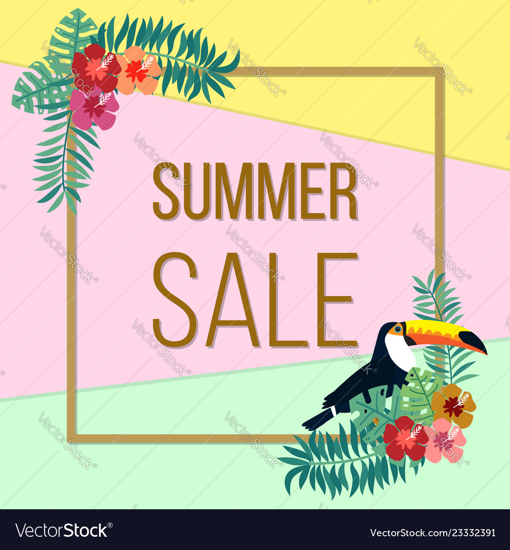 Summer sale poster with color tropical leaves