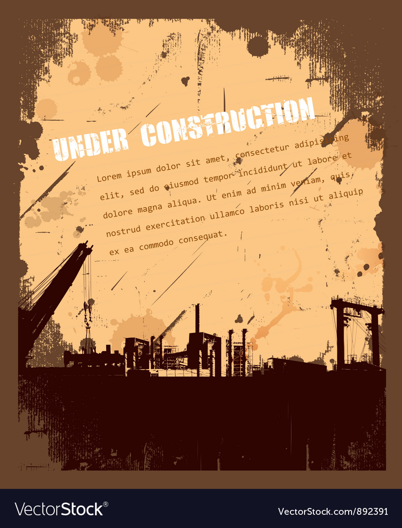 Vintage Grunge under construction retro background vector image