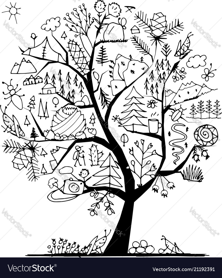 Wild field tree concept for your design