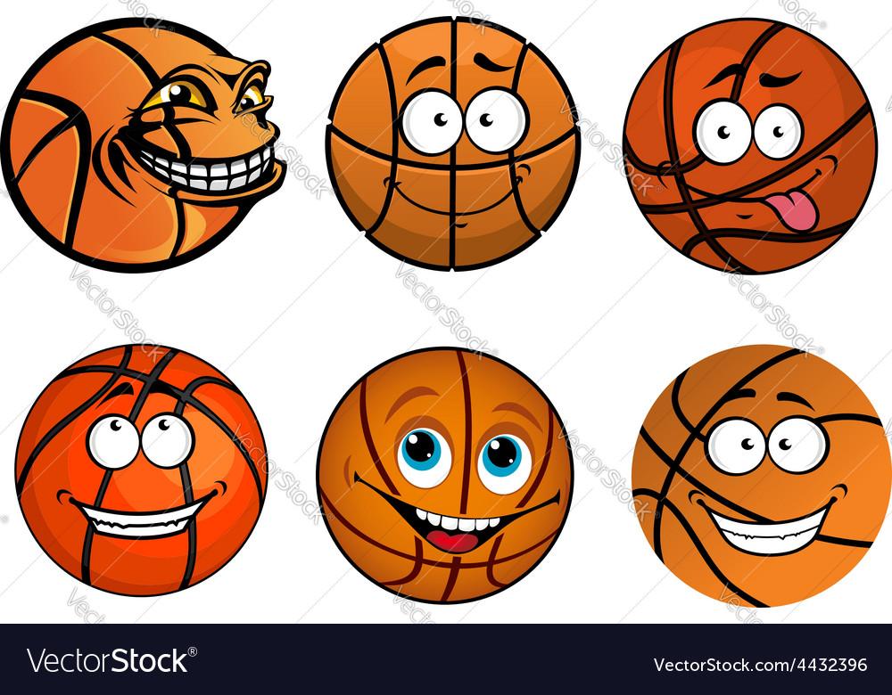 Cartoon happy traditional shaped basketball balls