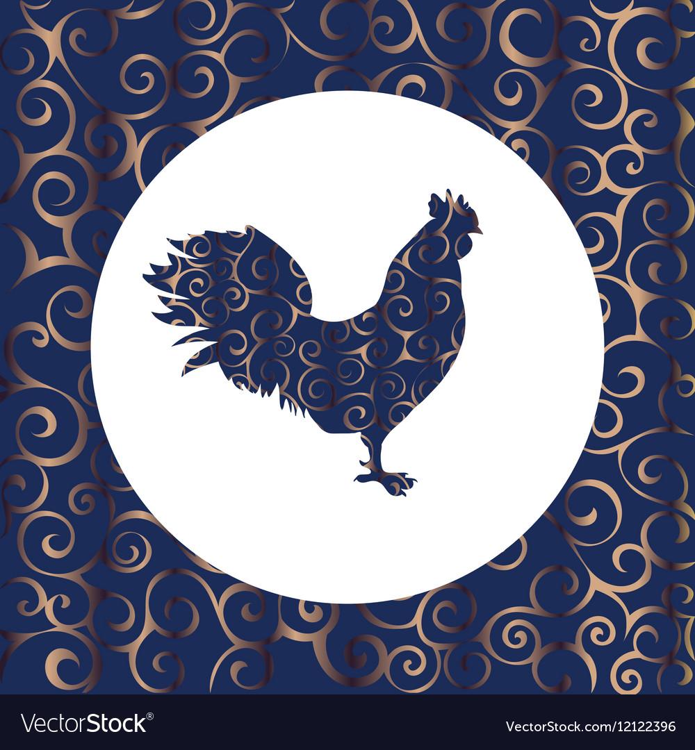 Cock silhouette pattern bird background