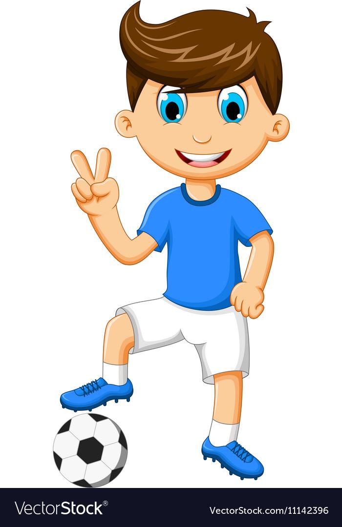 Funny Boy Cartoon Peace With Football Royalty Free Vector