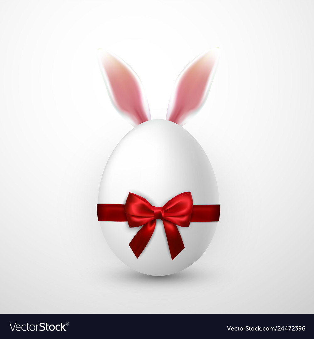 Happy easter realistic easter egg with red bow