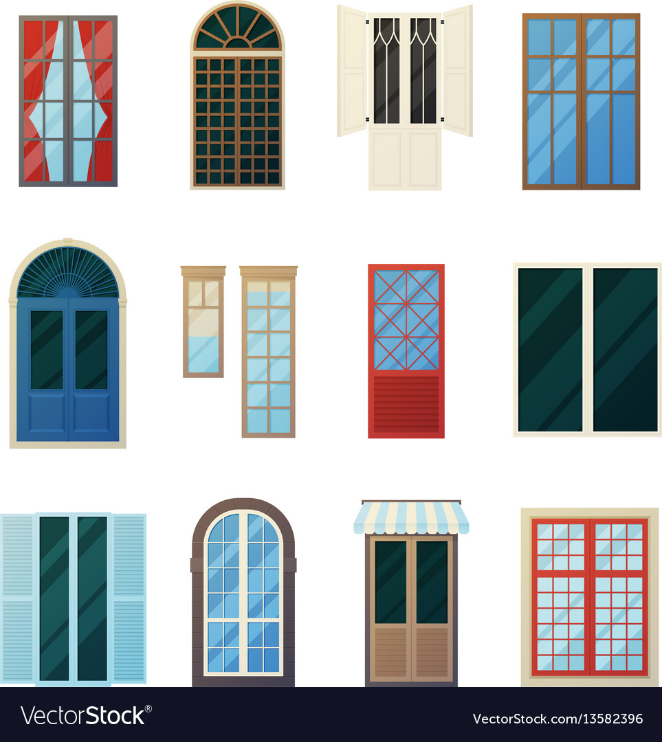 Muntin bars window panels icons set vector image