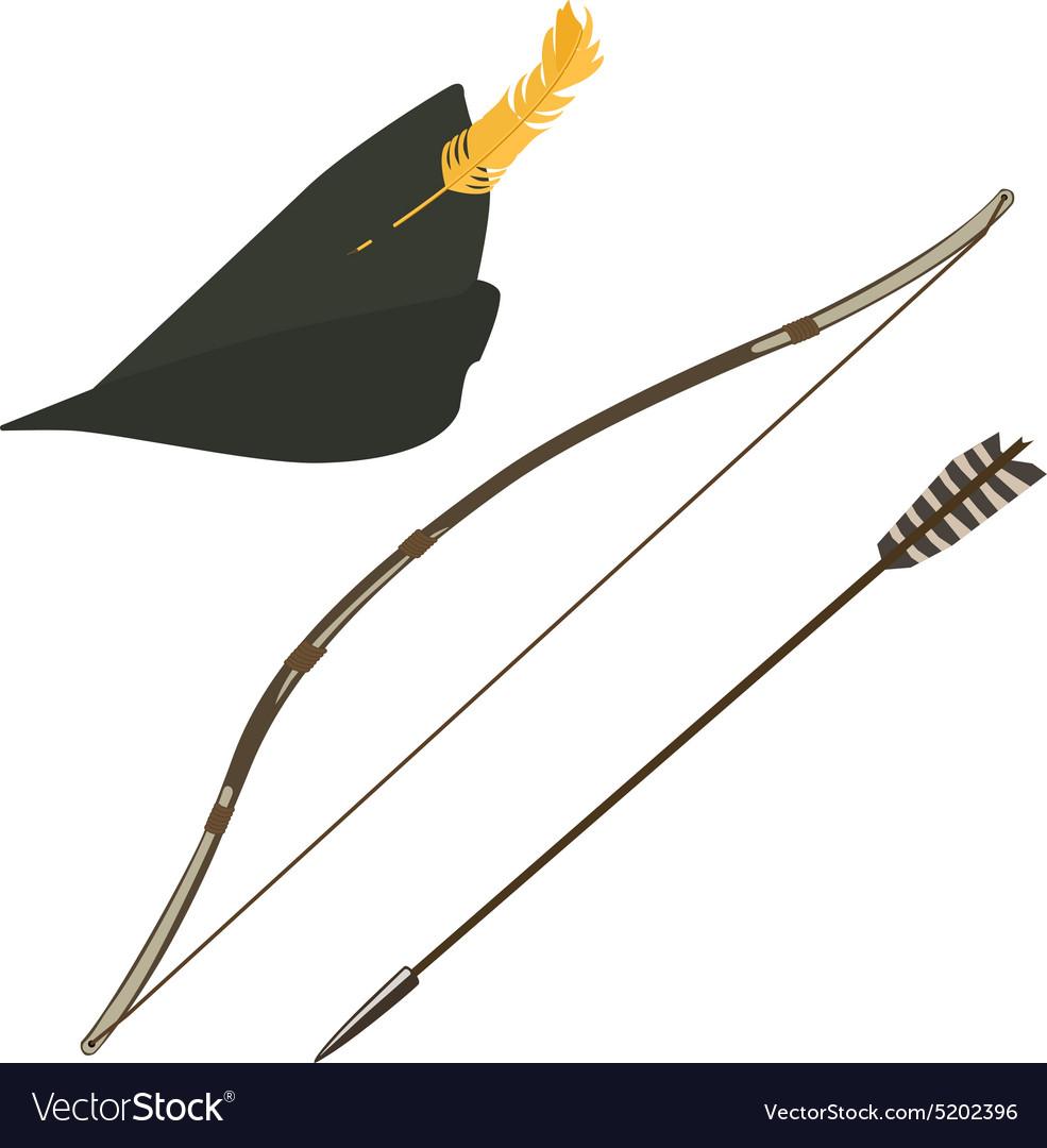 Robin hood hat bow and arrow vector image