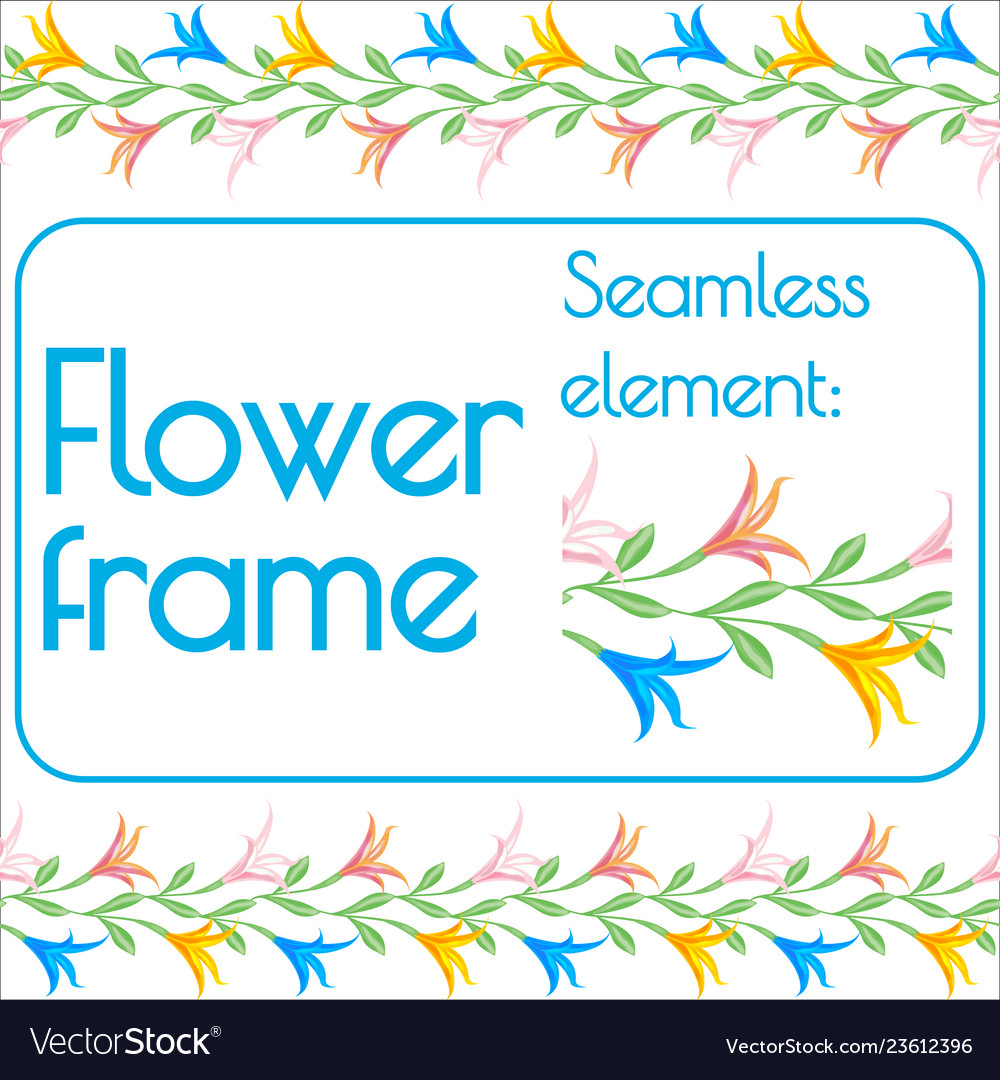 Seamless brush for a photo frame of flowers