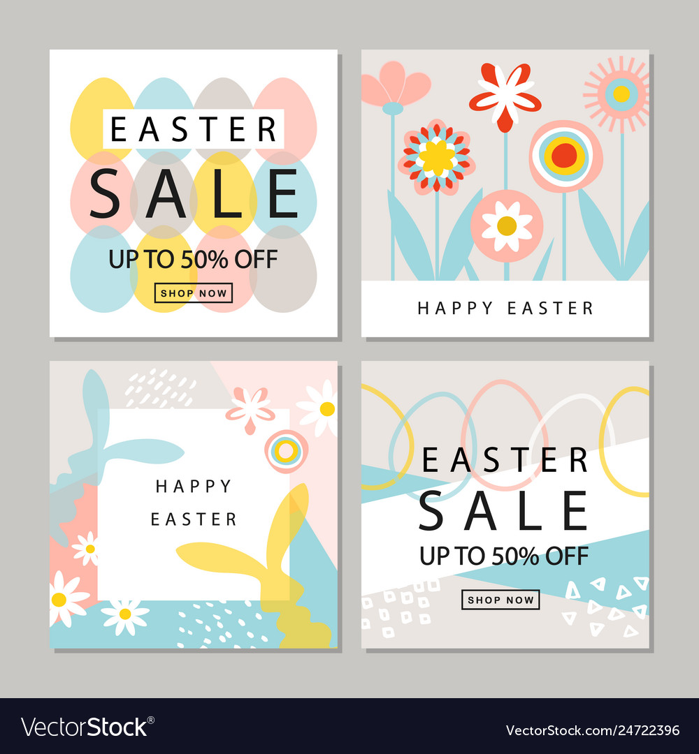 Set of cards easter sale backgrounds with hand
