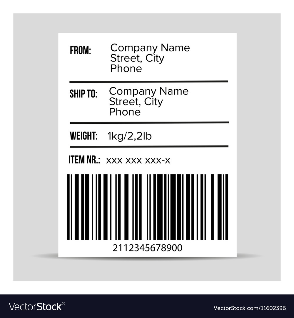 Shipping Barcode label vector image
