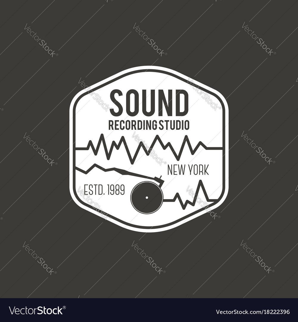 Sound recording studio label badge vector image
