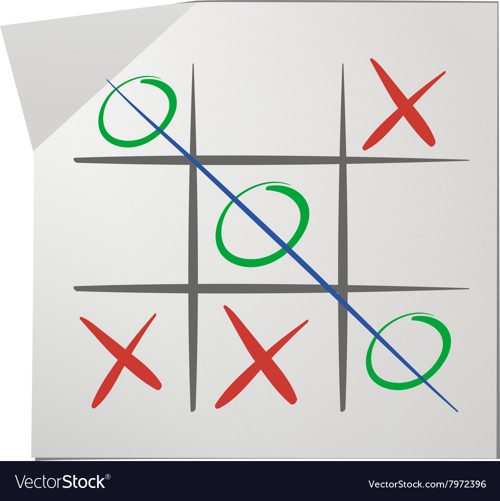 Tic tac toe on white paper vector image