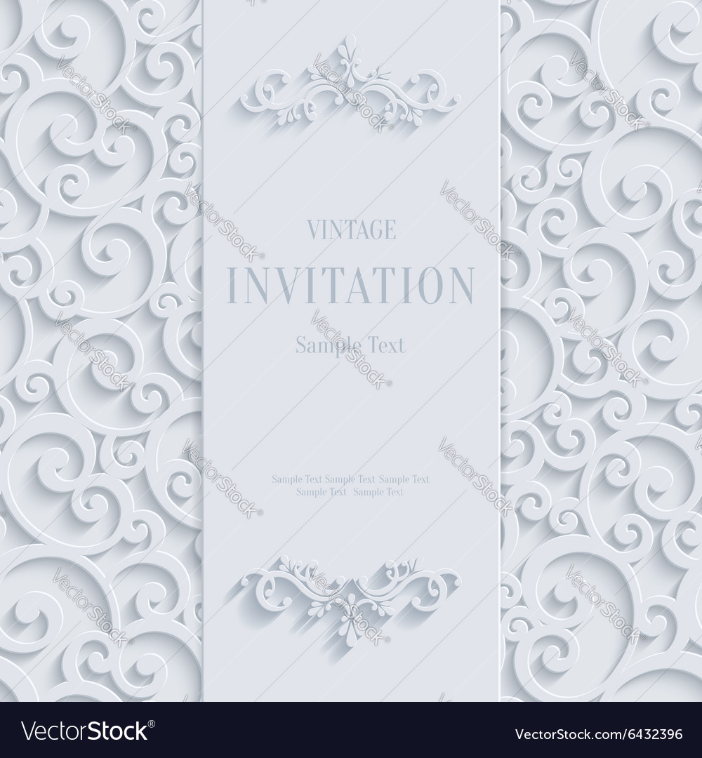 White 3d Vintage Invitation Card with Swirl