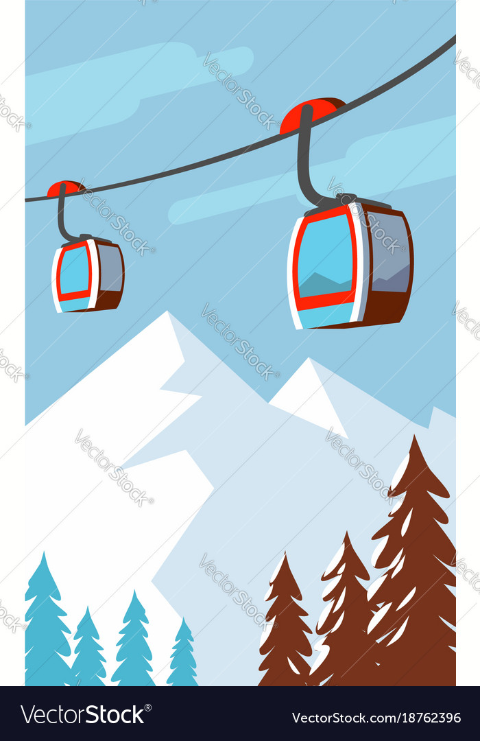 Winter mountains cable car ski lift