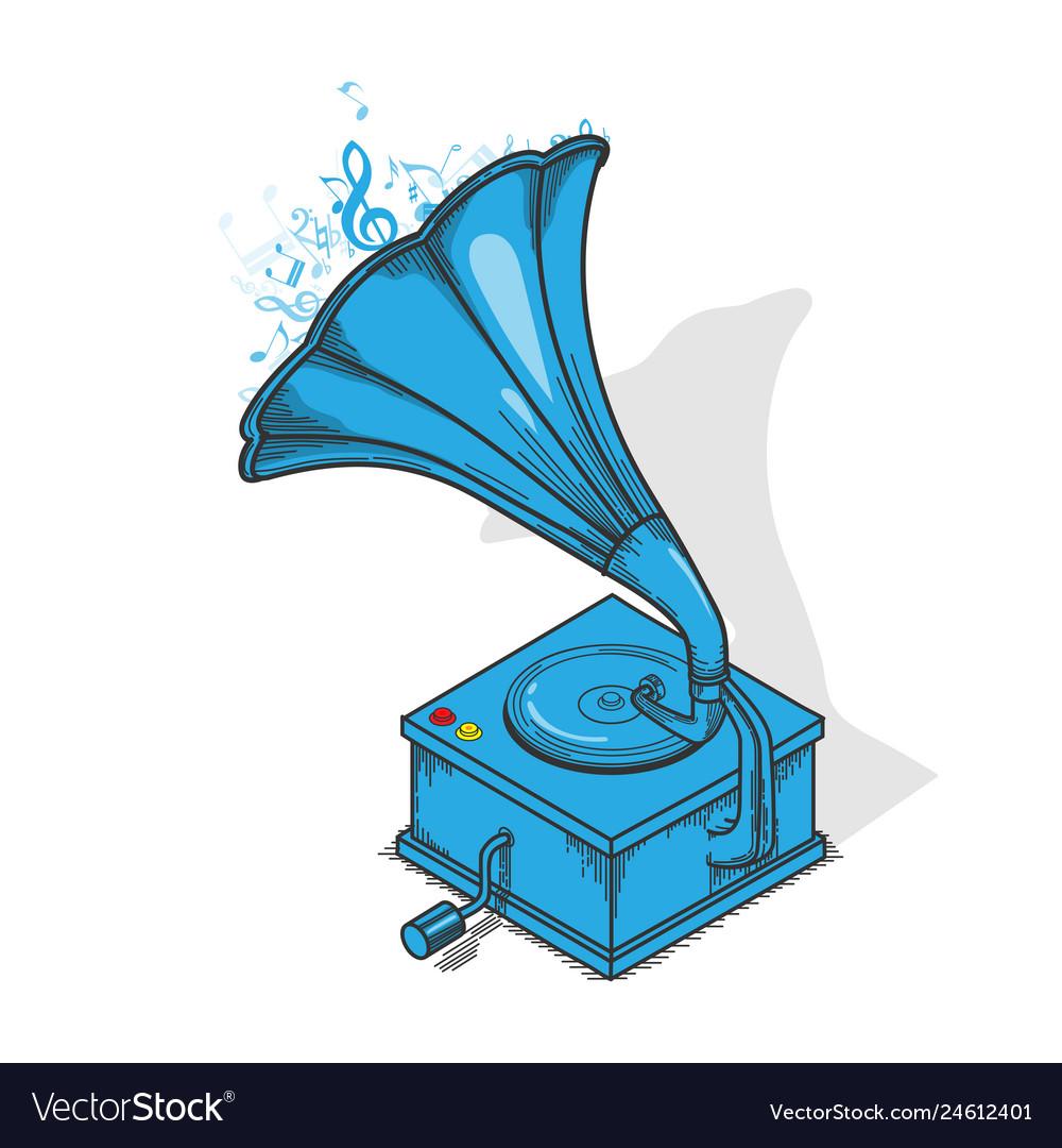 Blue vintage gramophone