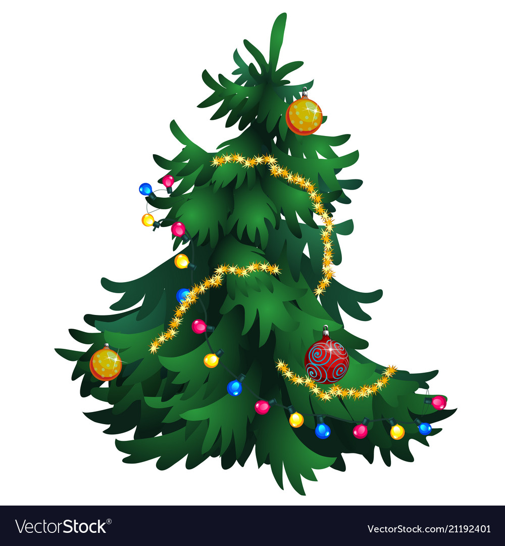 cartoon christmas tree with decorations isolated vector image vectorstock
