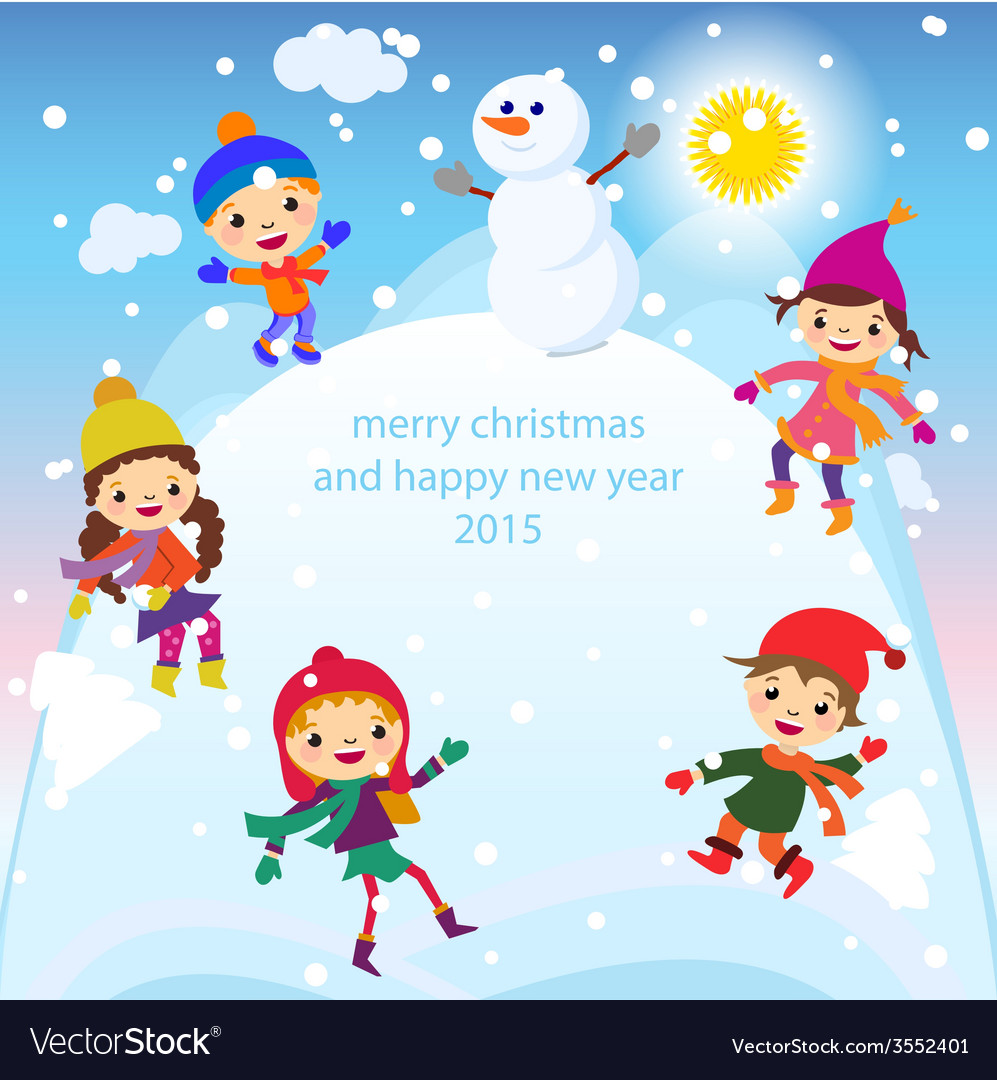 Christmas greeting card kids snow and snowman vector image m4hsunfo