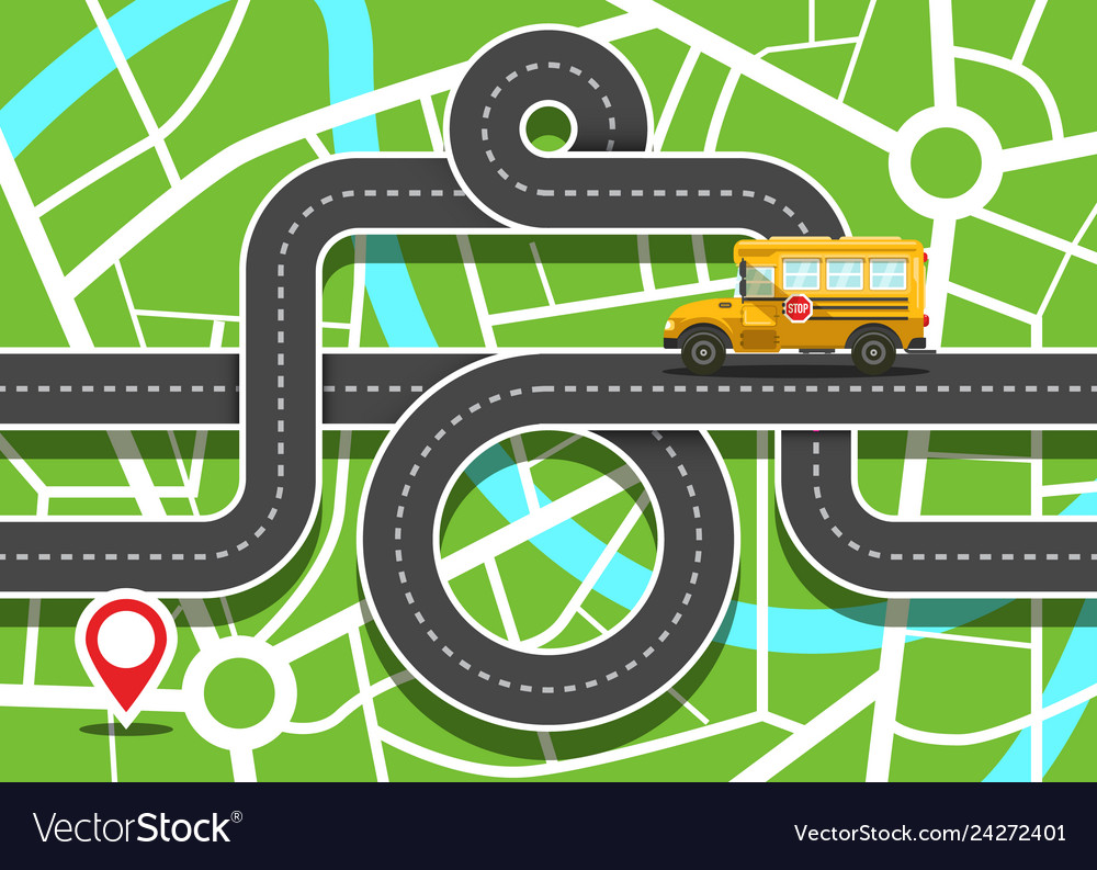 City map with school bus on road and destination