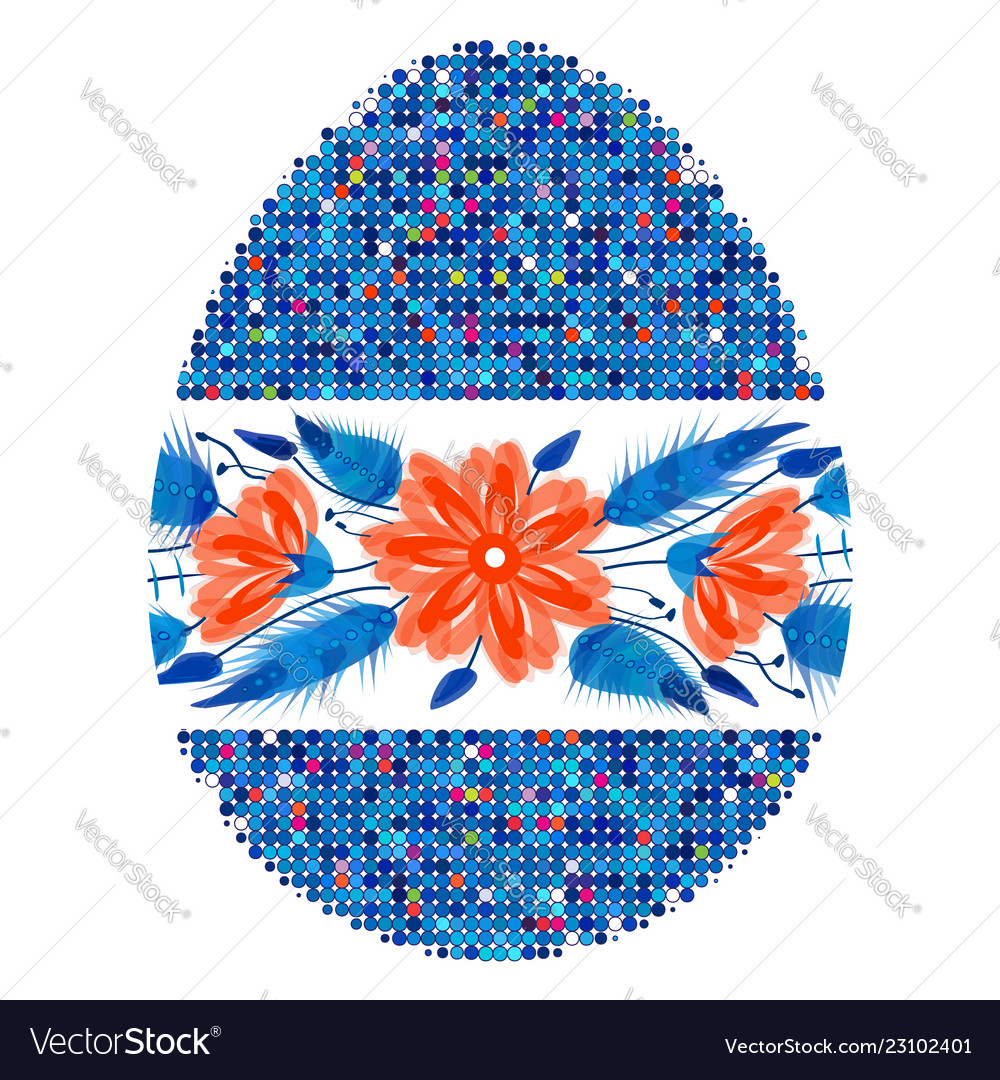 Colorful happy easter egg for greeting card folk