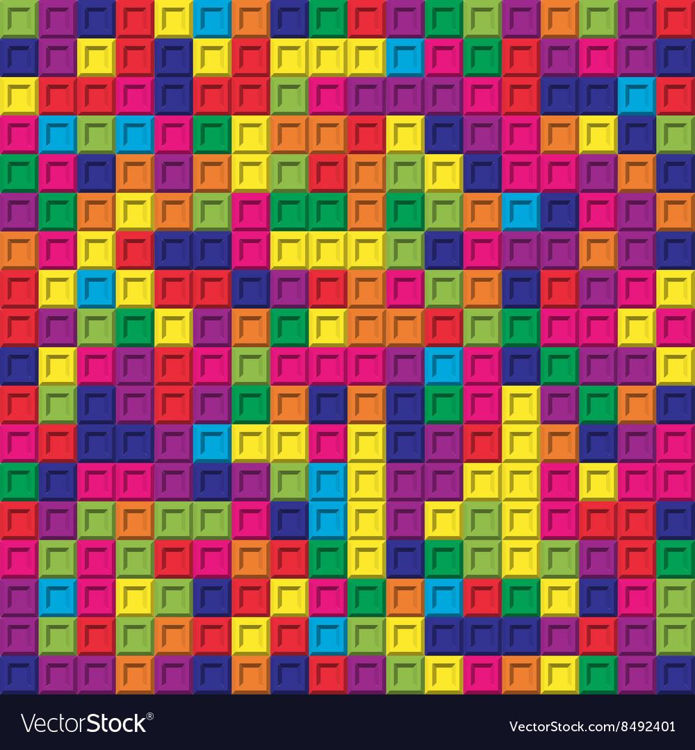 Colorful square bricks mosaic seamless pattern
