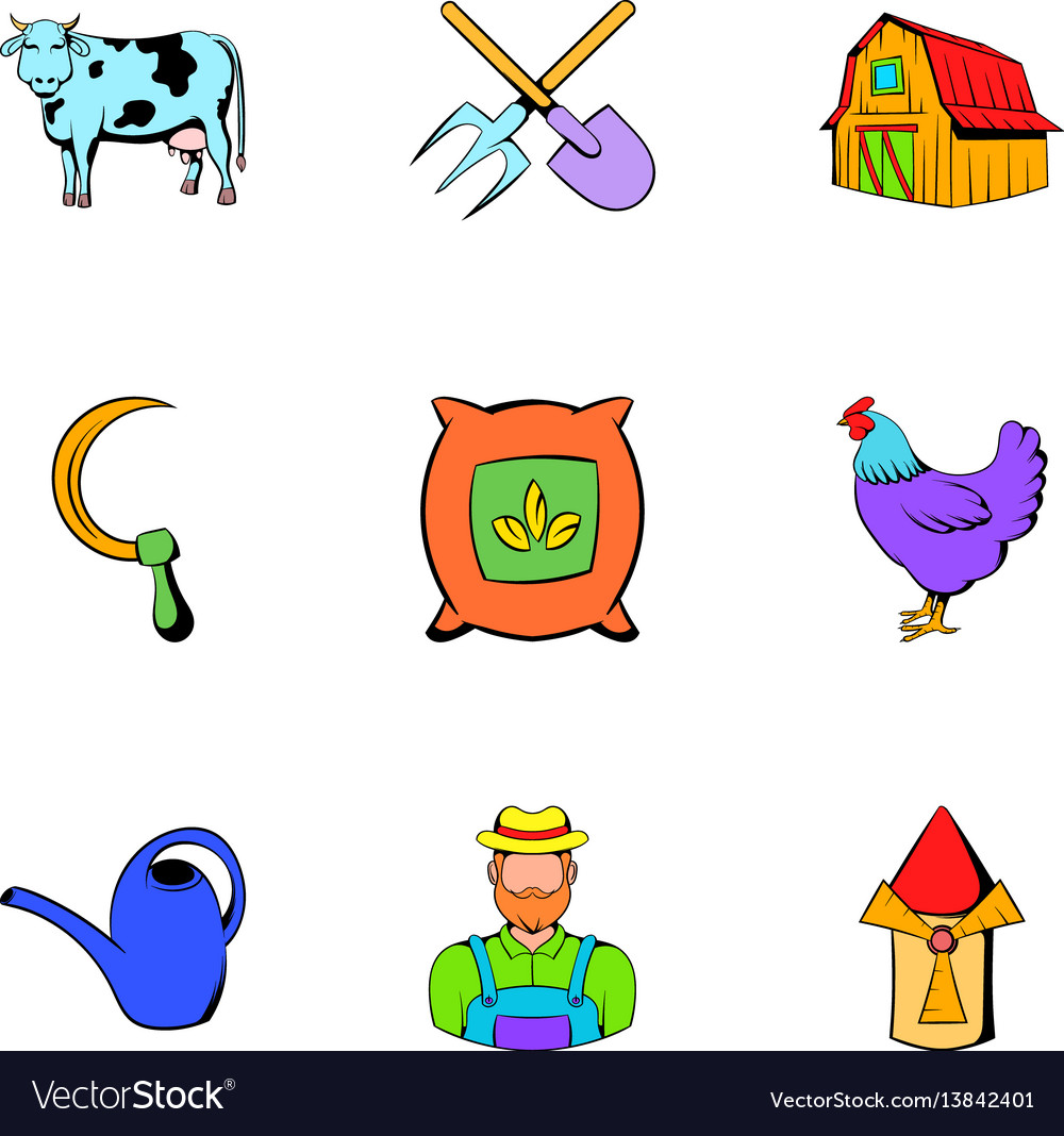 Farm icons set cartoon style