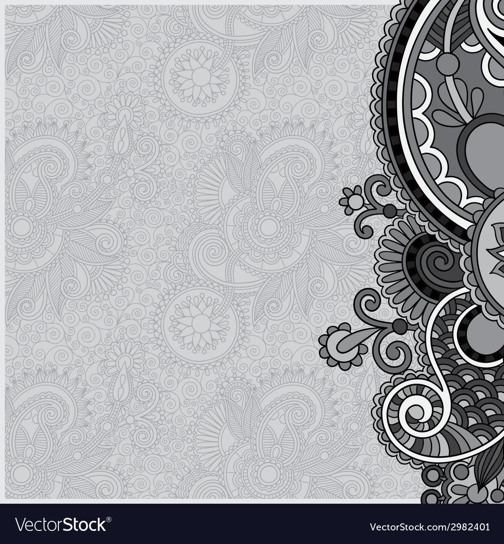 Grey vintage floral ornamental template on flower