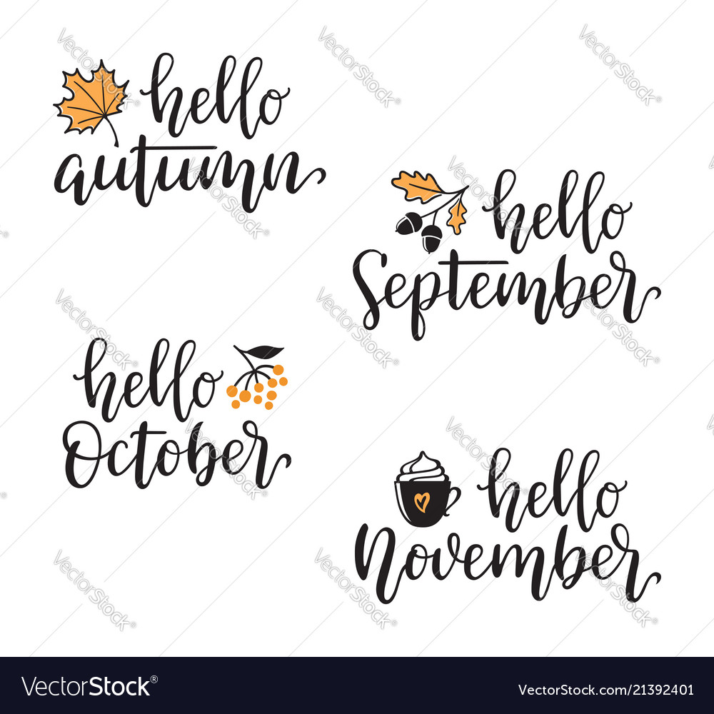 Hello autumn calligraphy set