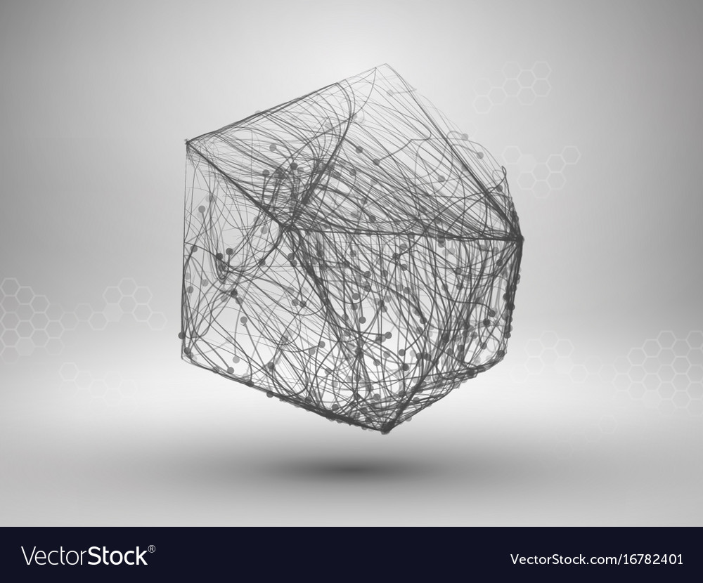 Icosahedron with connected lines and dots