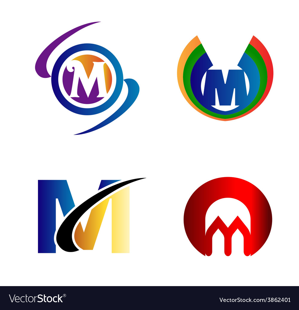 Letter M Logo Icons Set Graphic Design