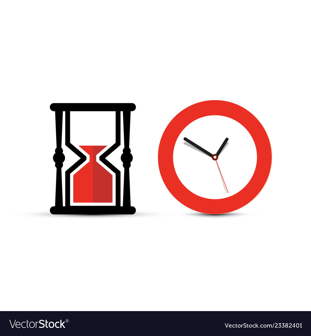 Sandclock and clock icons time symbol isolated on