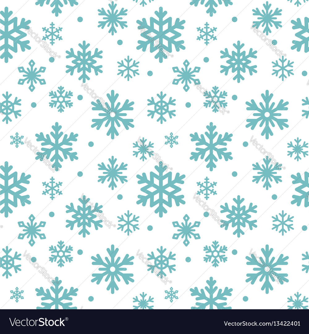 Seamless pattern of winter snowflakes